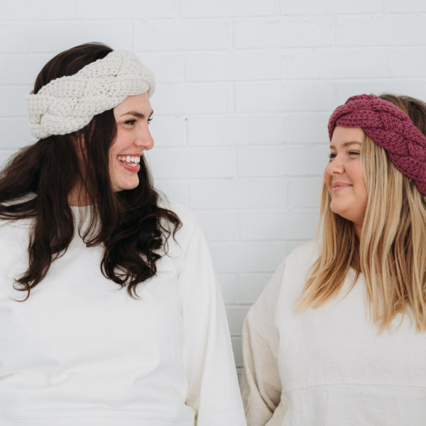 Braided Tunisian Ear Warmer | White & Mulberry | The Crafter's Box