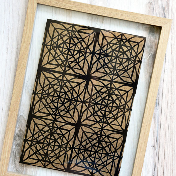 Tiled Block Print with Gradation | Gold on Black Scarf | Mindy Schumacher | The Crafter's Box
