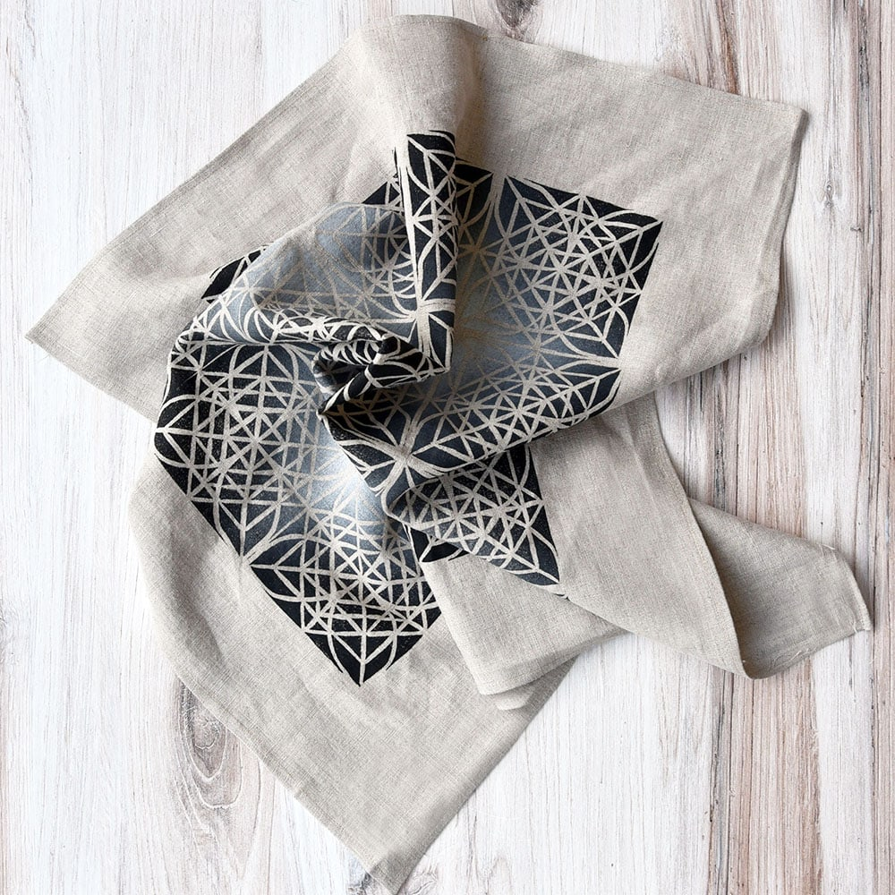 Tiled Block Print with Gradation | Linen Scarf | Mindy Schumacher | The Crafter's Box
